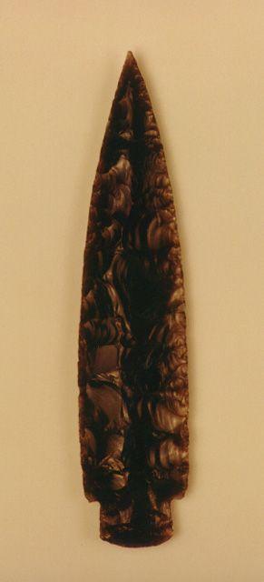 "Mayan Obsidian Dagger Blade - PF.1419 Origin: Guatemala Circa: 600 AD to 900 AD  Dimensions: 8.625"" (21.9cm) high"