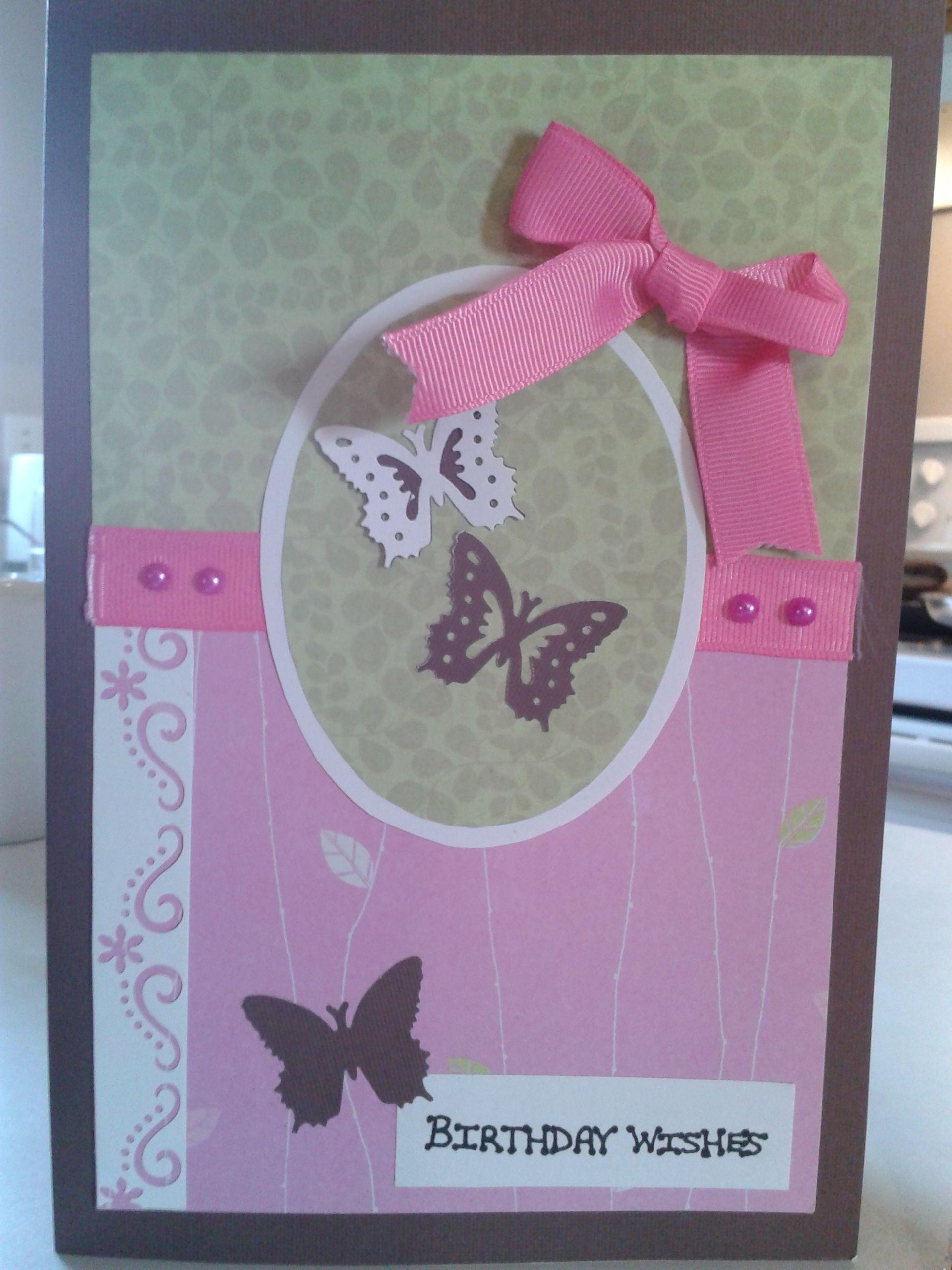 Handmade butterfly birthday card.