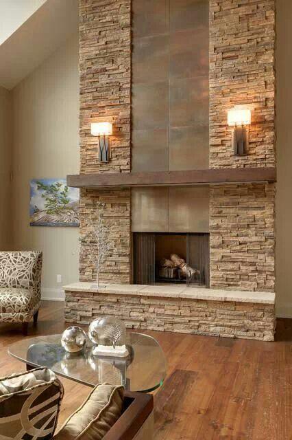 Beautiful Stone Work | Main Level | Pinterest | Steinwand, Kaminofen Und  Wohnzimmer