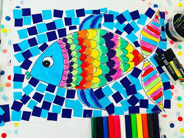 Rainbow Fish Collage Online Today Rainbowfish Fish Rainbow Collage Pipdot Pipdotart Onlineteaching Artclass Artforki In 2020 Collage Online Fish Collage Rainbow Fish