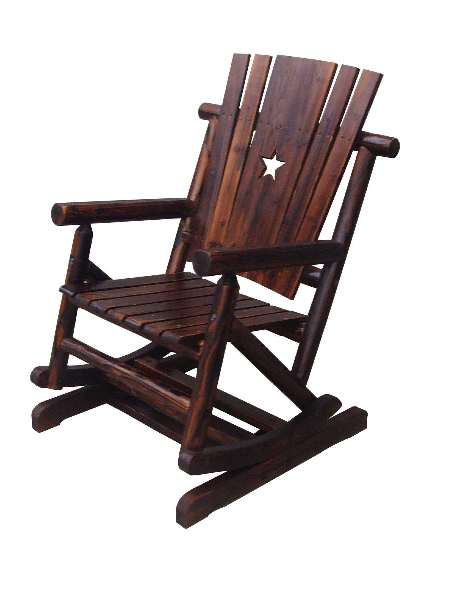 Char Log Pendulum Spring Cut Out Star Single Rocking Chair