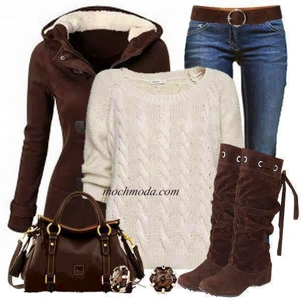 see more Winter Outfit - Brown Coat, Long Boots, Handbag, Blue Jeans and White Sweater