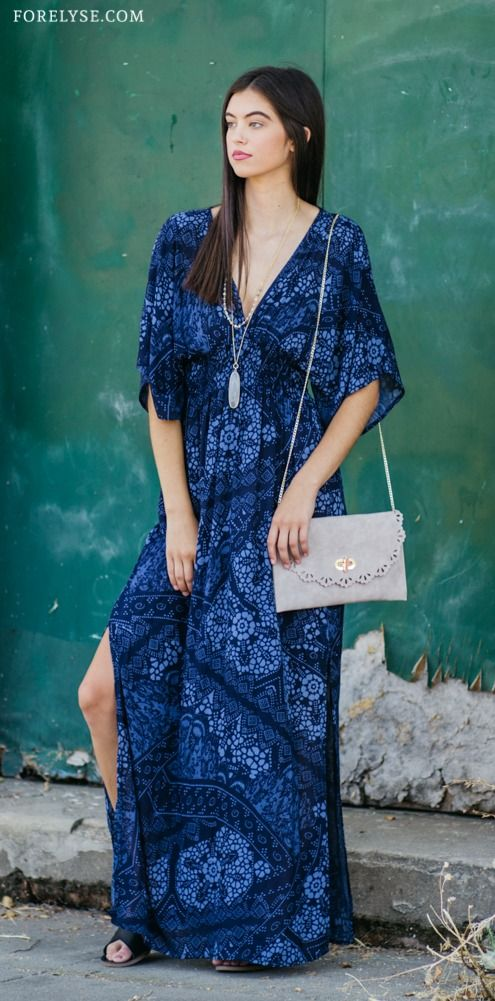 8cbf94f040 maxi dress, kimono dress, bell sleeves, printed dress, bohemian, blue, blue  dress, boho, boho dress, long necklace, layered necklace, taupe clutch, ...