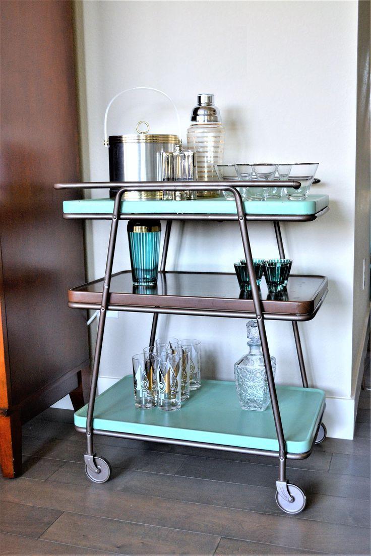 mid century modern bar cart 3 tiered metal cart retro kitchen island rolling bar cart on kitchen island ideas kitchen bar carts id=68872