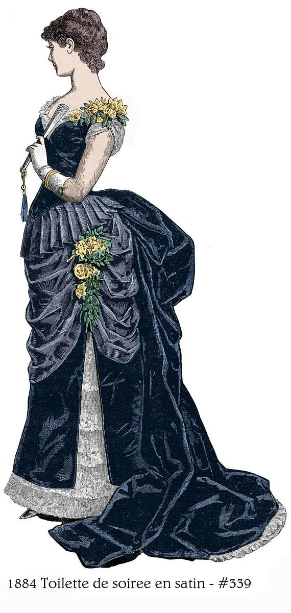 1884 Victorian evening gown pattern, custom sized, $9.95. Includes ...