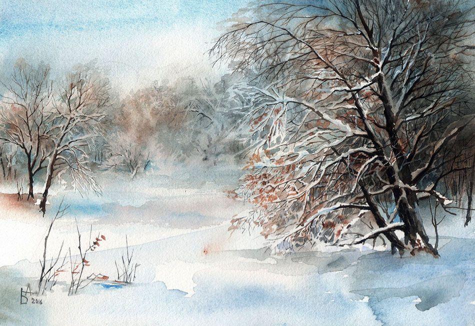 советуют природа акварелью картинки зима там жил