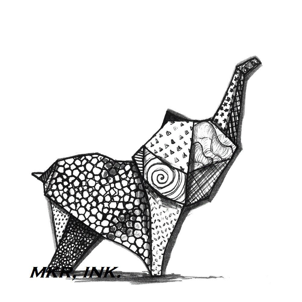 Origami Elephant 85X11 Digital Print Of A Pen And Ink Drawing 1200 Via Etsy