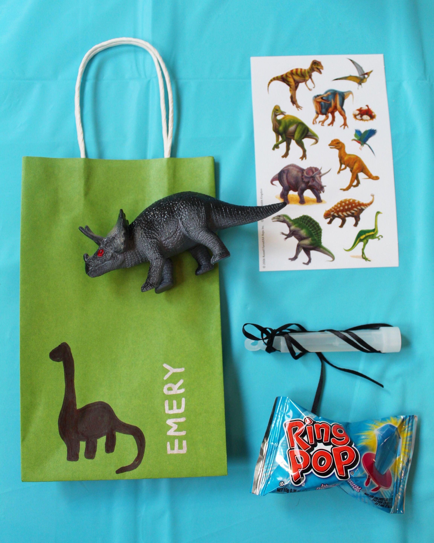 At Home Dinosaur Themed 3 Year Old Party Loot Bag DIY