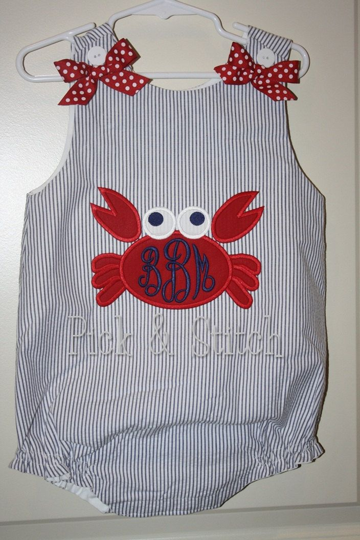 Ready For Monogram Crab Applique Machine Embroidery Design