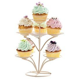 """A whimsical display for your favorite sweet treats, this charming metal cupcake tree showcases a cream hue and swirled bases.   Product: Cupcake treeConstruction Material: MetalColor: CreamFeatures: Holds nine cupcakesDimensions: 10"""" H x 7"""" Diameter"""