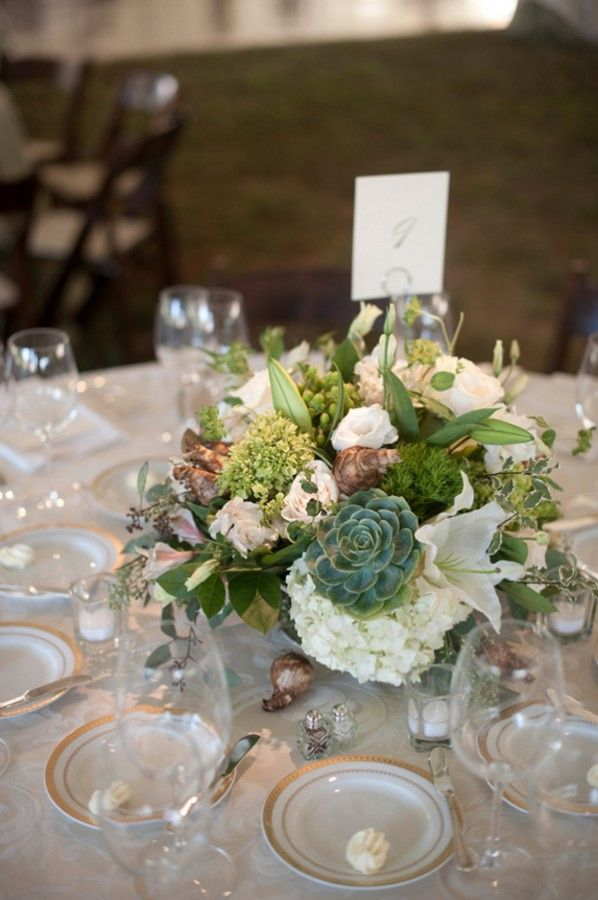 Green and white succulent wedding centerpiece