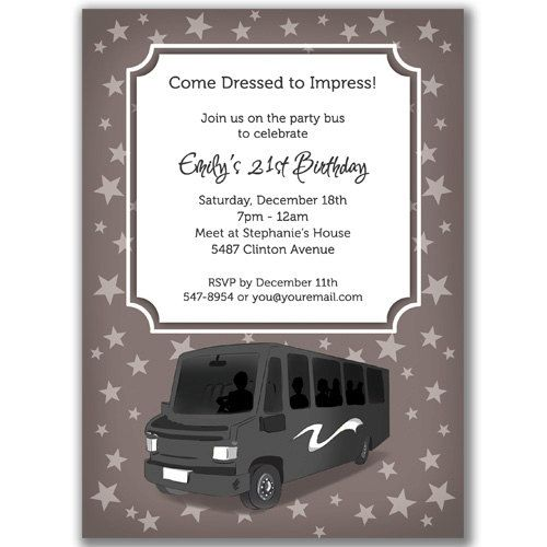 Party Bus Invitations Stars For A Birthday Bridal Or By