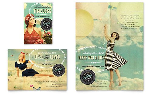 Vintage Clothing Flyer Ad Template Design Sample – Fashion Design Brochure Template