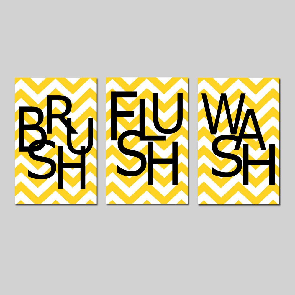 Kids Bathroom Wall Art Print Set - Pick THREE 11x17 Chevron Prints ...