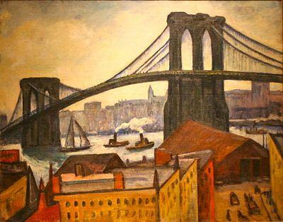 Samuel Halpert Paintings | Samuel Halpert - A View of the Brooklyn Bridge - Brooklyn Museum