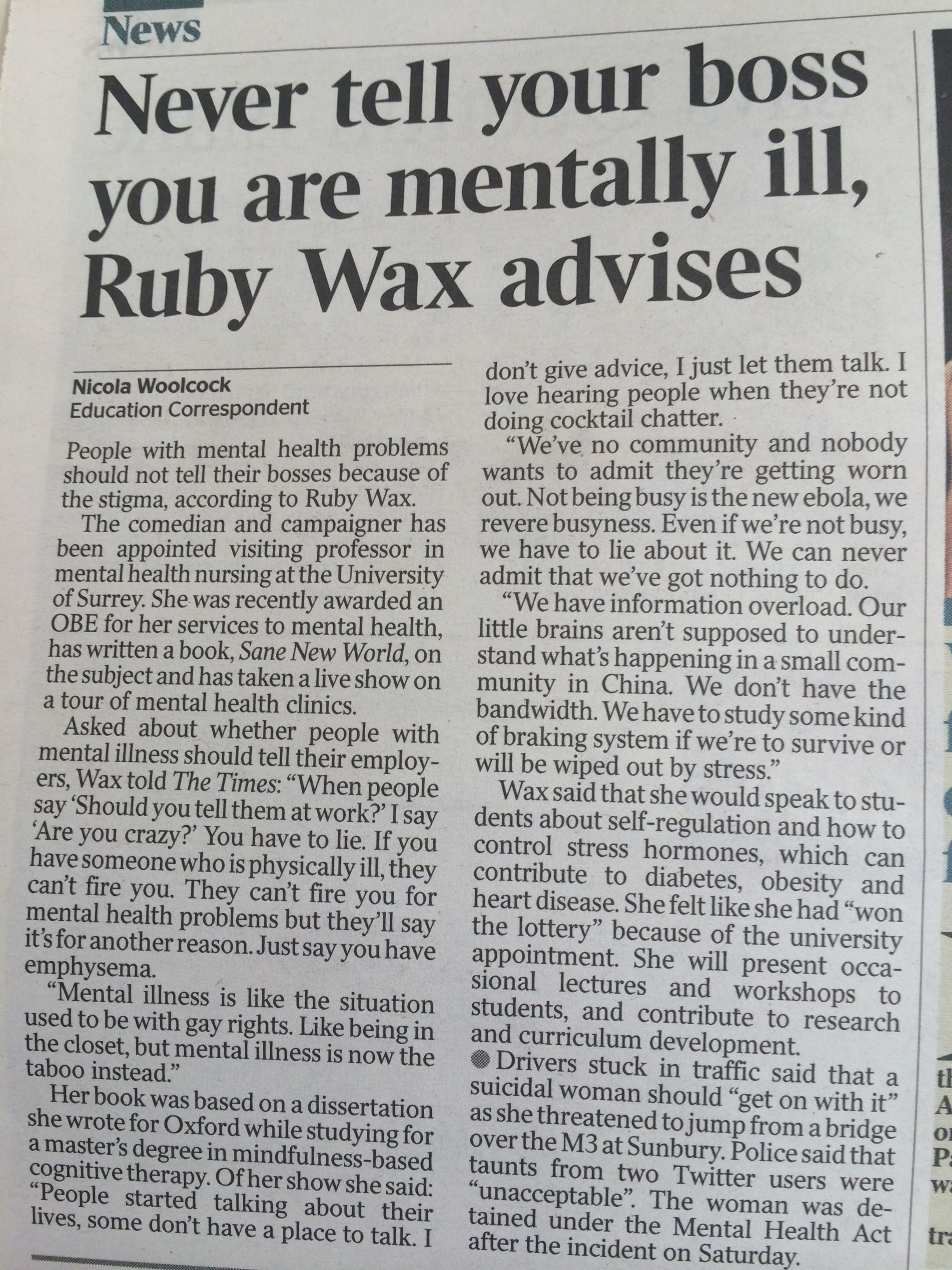 Don't tell your boss if you're mentally ill, Ruby Wax