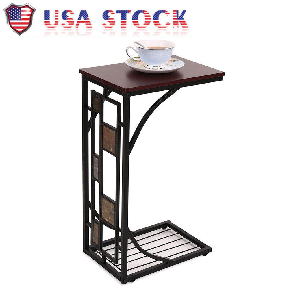 Cshaped side sofa snack table coffee tray end table living room