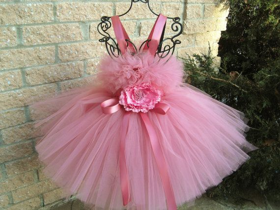 Tutu Dress, First Birthday,  DUSTY OLD PINK, Bit of Fluff,  Stretchy Bodice, for Baby Girls 3-24 Months, Photos, Gorgeous Gifts on Etsy, $65.00
