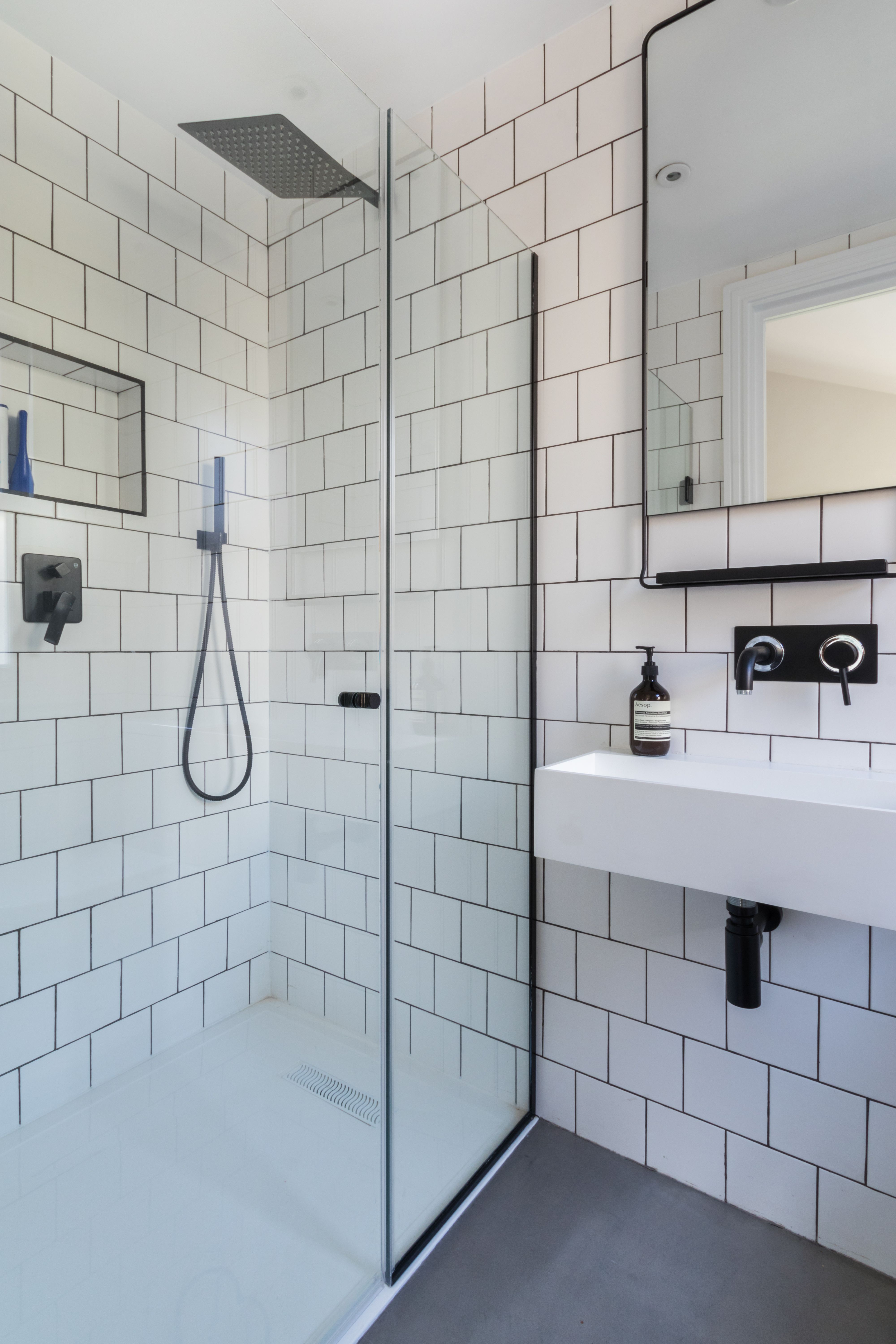 Bathroom, black and white bathroom, industrial luxe, industrial ...