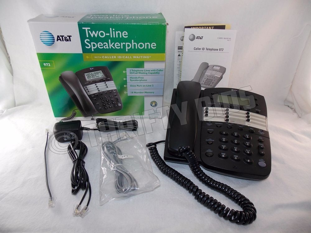 At T 972 Corded Two 2 Line Speakerphone Phone Black Data Port Wall