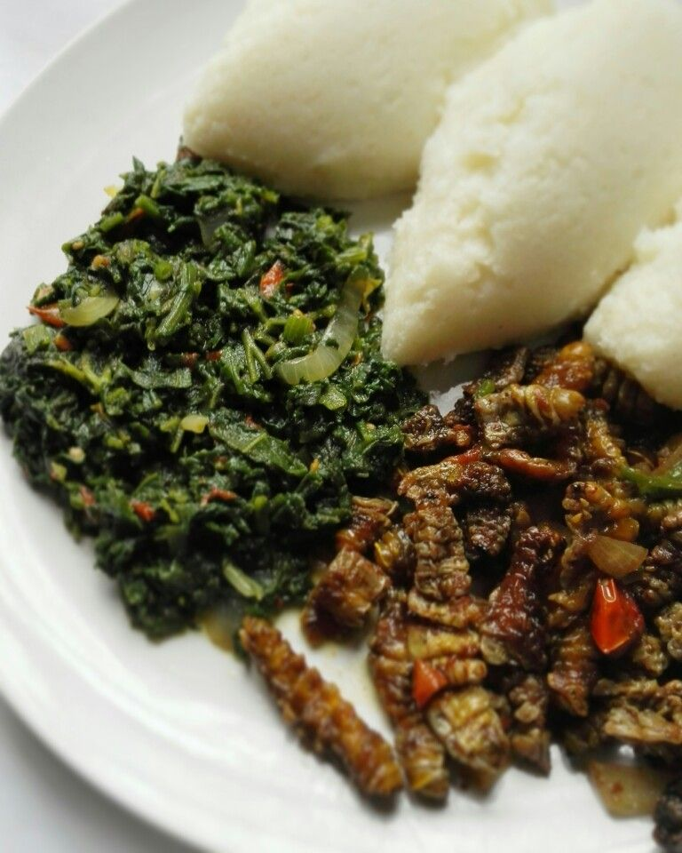 Zambian lunch nshima with pumpkin leaves and mopani worms zambian lunch nshima with pumpkin leaves and mopani worms african food zambia forumfinder Image collections
