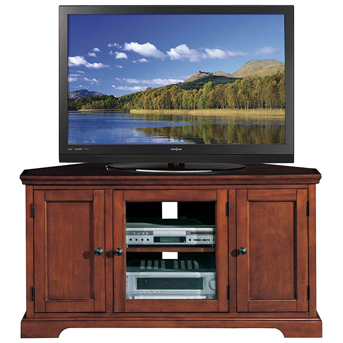 Bon Leick Riley Holliday Westwood Corner TV Stand With Storage, 46 Inch, Brown  Cherry