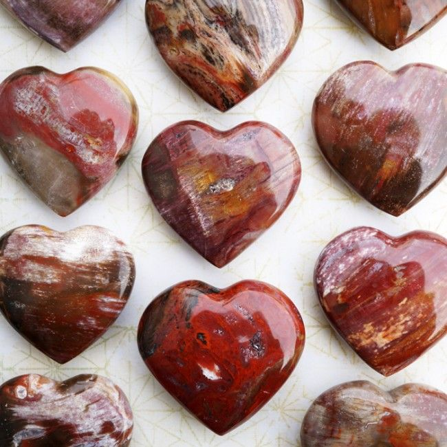 Petrified Wood Hearts place on your heart for a few mins every night before bed to reconnect with the earth.