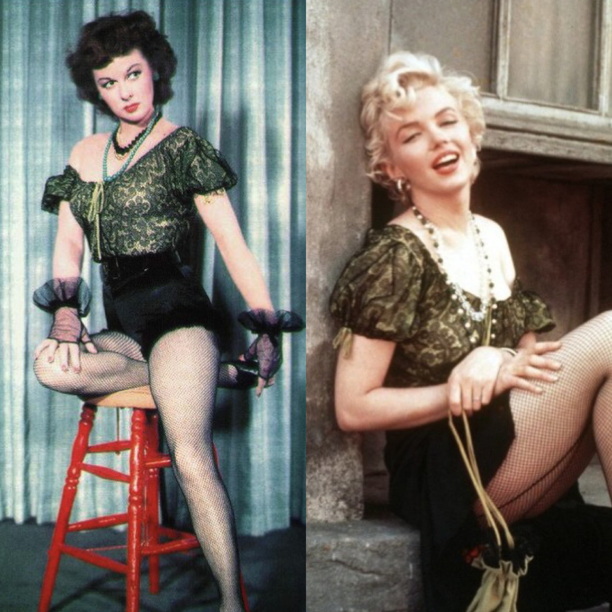"""A classic Hollywood """"Who Wore It Better""""? What makes this one of the best contests of the wearability of the top and tights was the fact that when each woman wore the outfit, she was the reigning queen of 20th Century Fox. Of course, I choose #SusanHayward every time."""