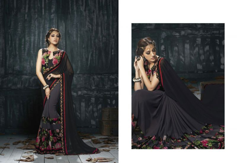 Beautiful Black Printed Saree. Redefine the party groove with this Georgette Saree. This saree will keep you comfortable all day long. This saree is quite comfortable to wear and easy to drape as well. This saree comes with matching unstitch Blouse. #saree, #printedsaree, #wholesalesuppliers, #wholesalesellers