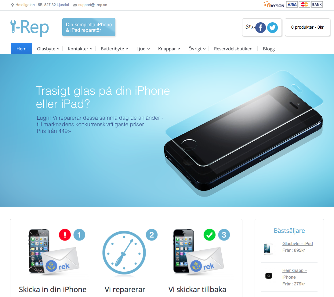 Förstasidan på www.i-rep.se!