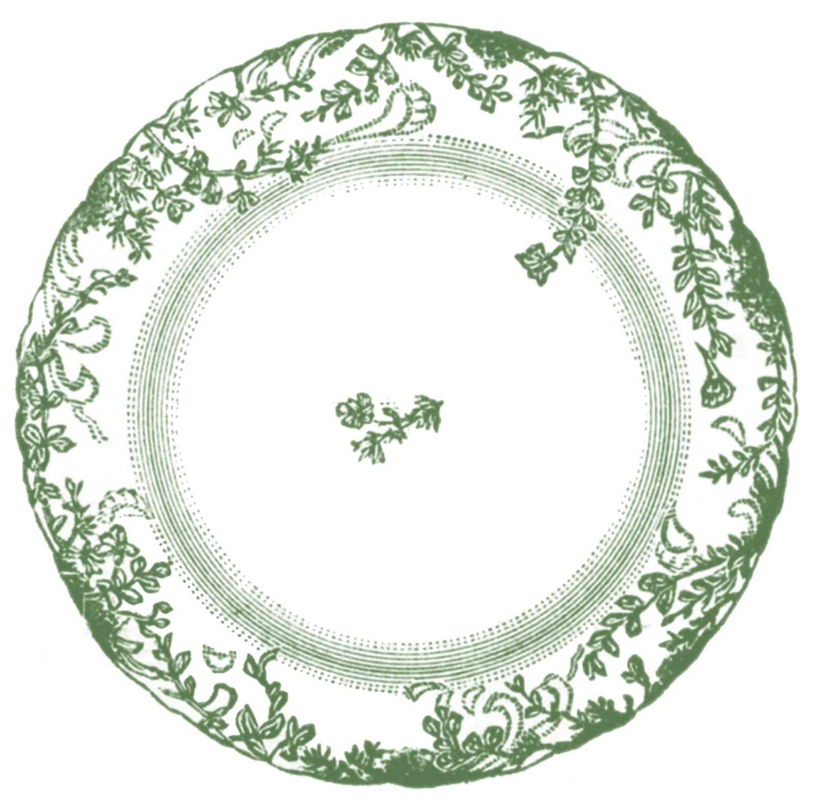 Vintage Clip Art - Antique China Plate - 4 Options | Vintage clip ...