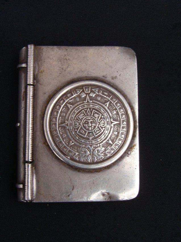 STERLING BOOK PILL BOX AZTEC CALENDAR