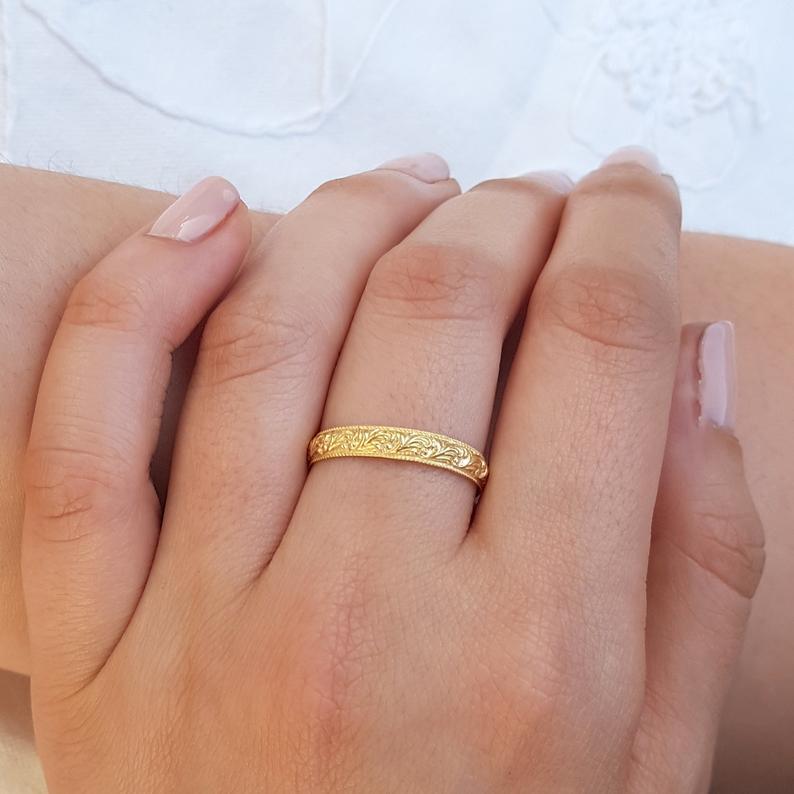 Unique Wedding Ring 18k Gold Wedding Ring Gold Wedding Ring Wedding Band Women Stack Wedding Ring Patterned Wedding Band Antique Style Wedding Rings Unique Patterned Wedding Band Etsy Wedding Rings