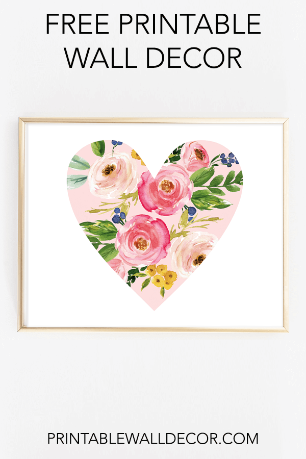 Free Printable Floral Heart Wall Decor Printable Wall Art Wall Printables Free Wall Art