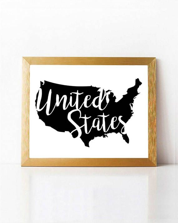 United States Map Wall Art Printable United States Map Black & White ...