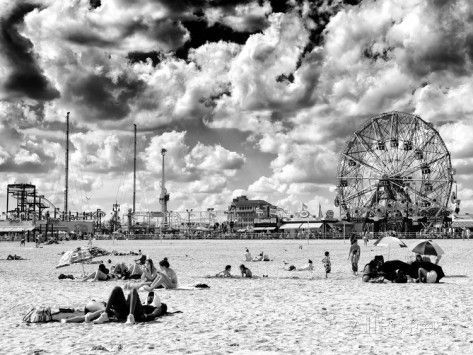 Vintage beach wonder wheel black and white photography coney island brooklyn