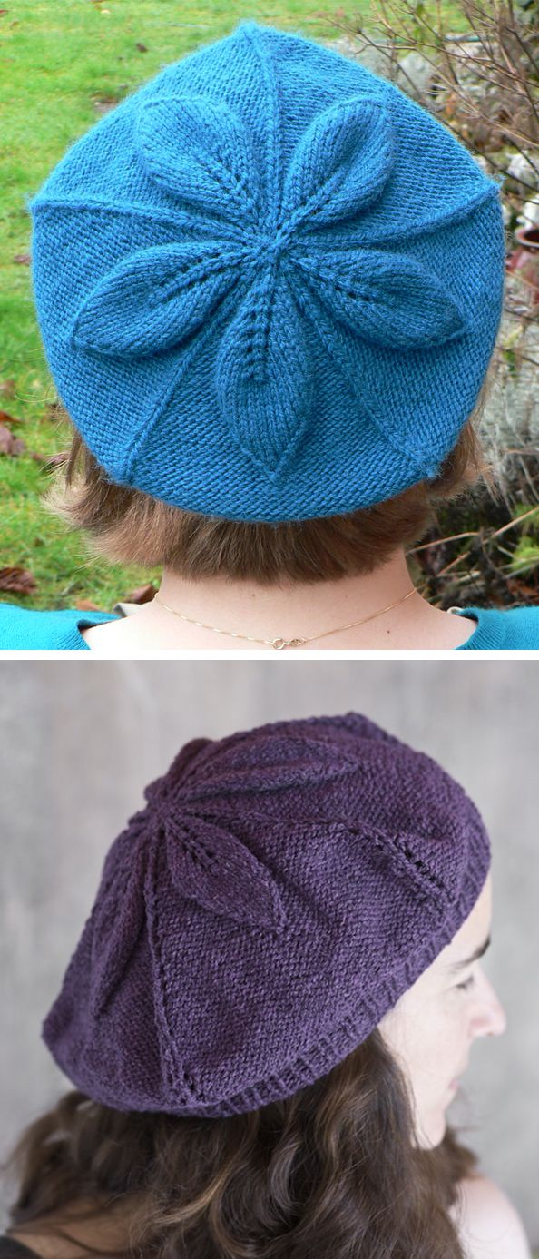 Free Knitting Pattern for Crumpet Beret - A dimensional 5-point leaf ...