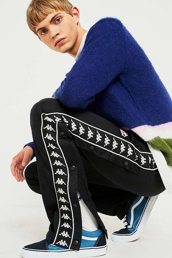 9fdc94c25a13 Kappa Astoria Slim Black Popper Track Pants