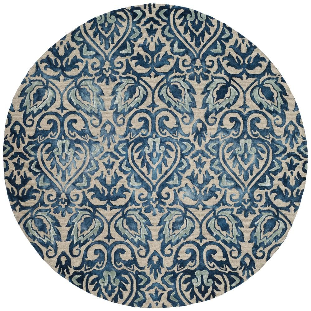 Safavieh Dip Dye Royal Blue Beige 7 Ft X 7 Ft Round Area Rug