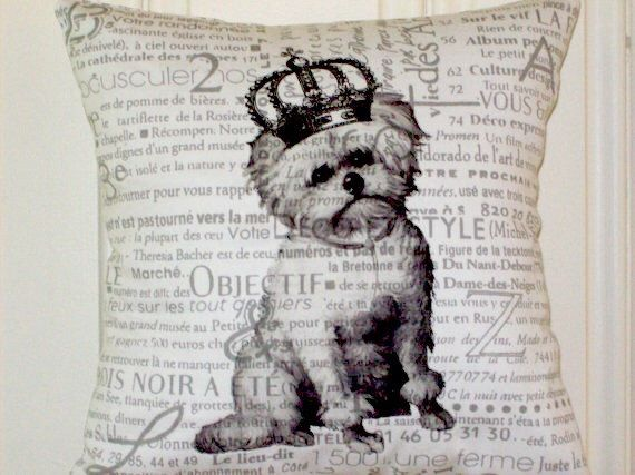 """shabby chic, feed sack, french country, vintage Maltese graphic on french newsprint fabric 14"""" x 14"""" pillow sham. by kreativbyerika on Etsy https://www.etsy.com/listing/153557535/shabby-chic-feed-sack-french-country"""