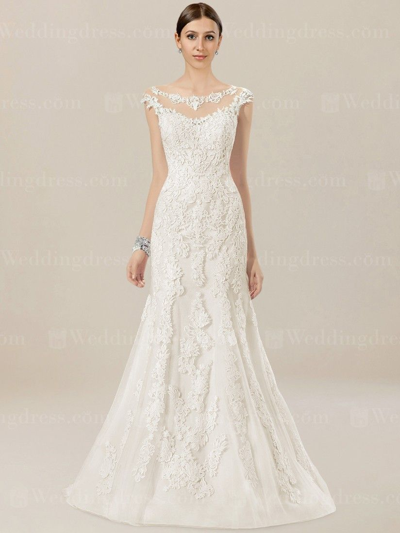 971625f6dc Cap sleeves bodice features eye-catching illusion neckline. Trumpet skirt  adds movement and drama. Back is eye-catching with low V-back. Lace wedding  dress ...