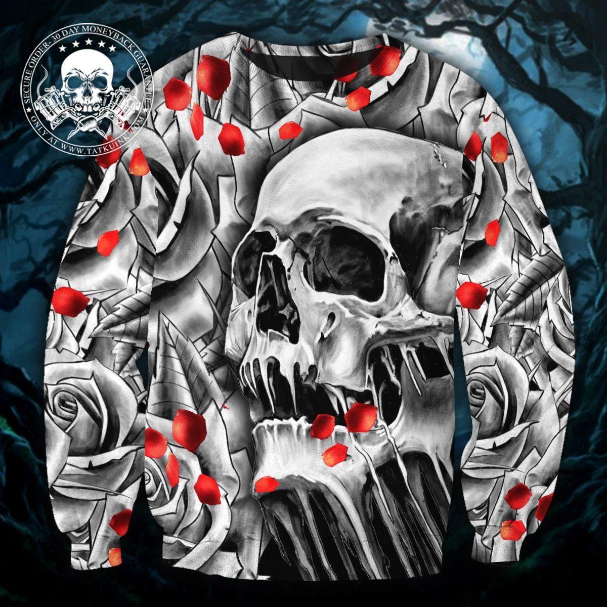 Death Rose Skull 3D Tees & Hoodies - 3D SWEATSHIRT / XXL
