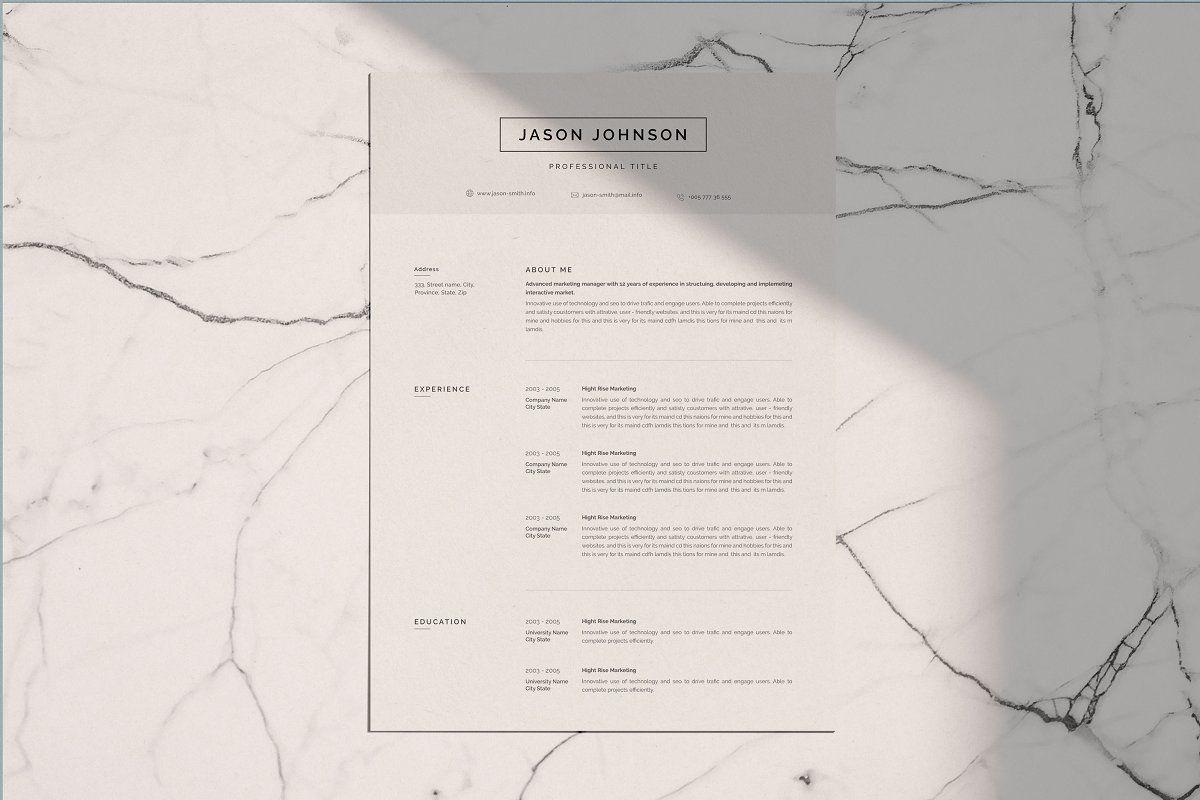Resume template cv in 2020 resume template minimalist