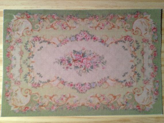 Find This Pin And More On Carpet Eria Rugs Dollhouse Miniature Green Aubusson Rug With Pink
