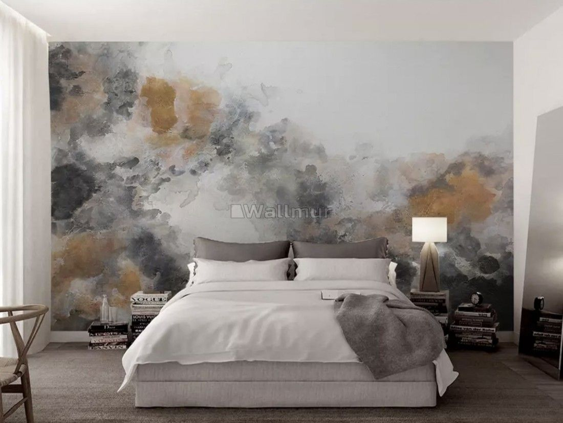 Watercolor Black Brown Smoked Paint Art Wallpaper Mural Wall Murals Bedroom Wall Murals Painted Wall Murals