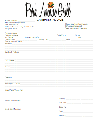 28 Catering Invoice Templates Free Download Demplates Invoice Template Templates Free Download Template Free