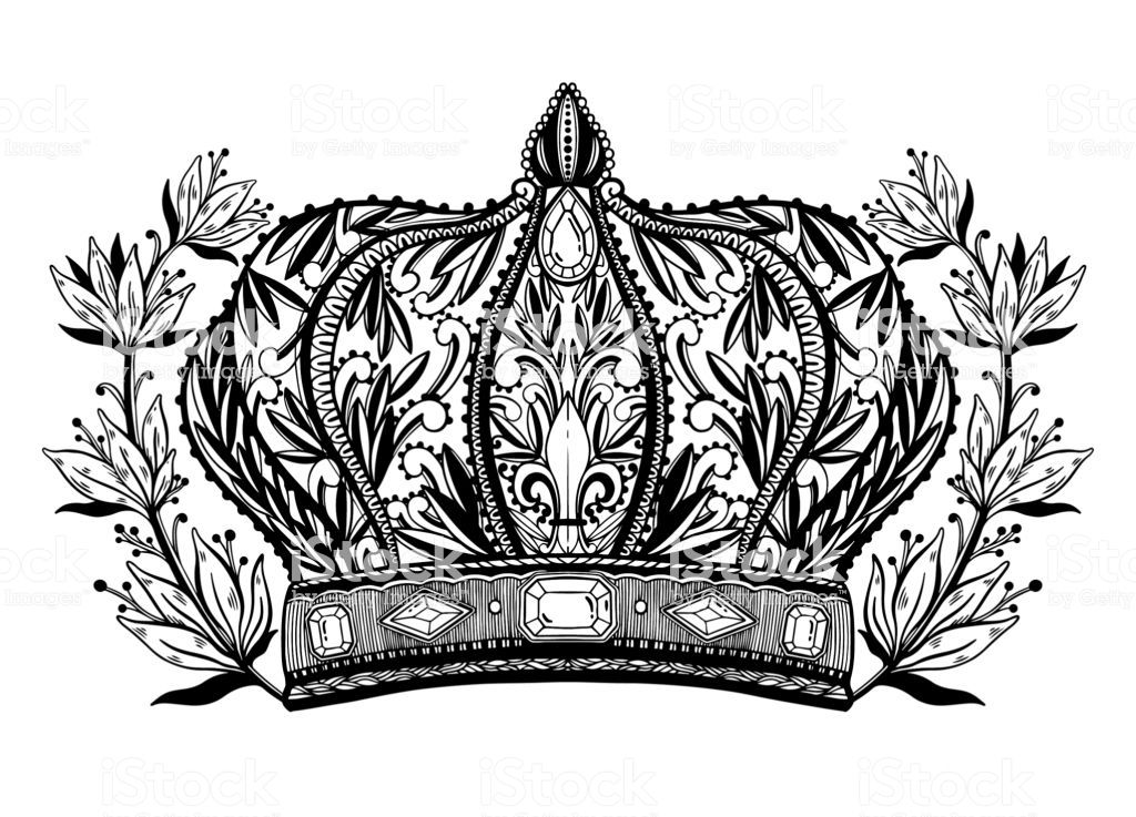 Crown King And Queen Elegant Drawing Art Black Color In White