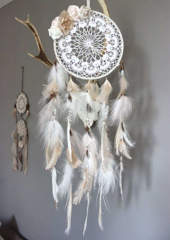 reserved poet 39 s blossom dreamcatcher feathers pink peach white and white with vintage. Black Bedroom Furniture Sets. Home Design Ideas