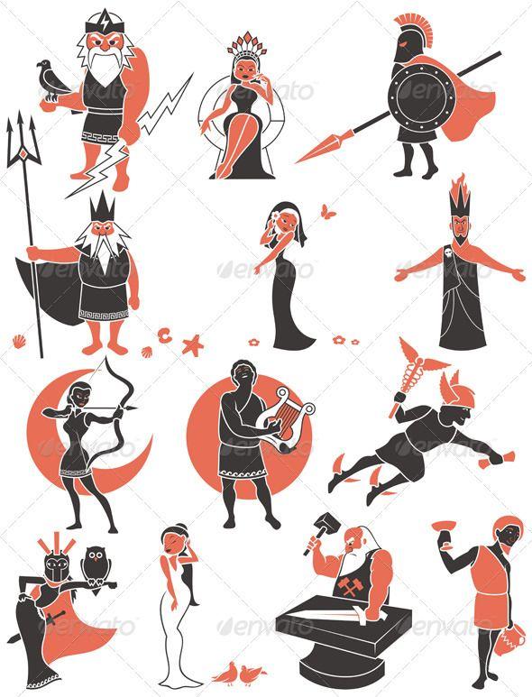 greek roman gods characters mythology and illustrations rh pinterest com