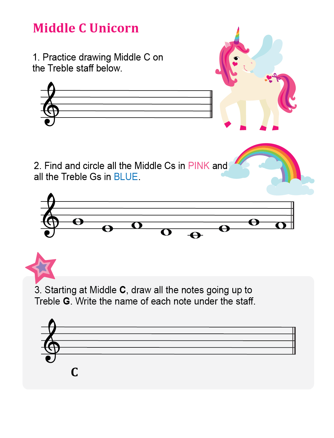 Middle C Pink Unicorn Printable Piano Heroes Piano Music Lessons Music Theory Worksheets Music Lessons [ 1513 x 1153 Pixel ]